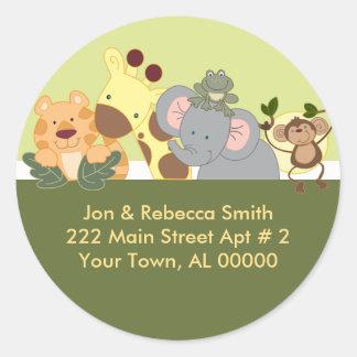 Round Return Address Labels - Jungle Safari Green