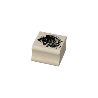 Round Rose Rubber Stamp