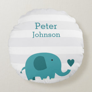 Round Safari Elephant Birth Stats Nursery Pillow