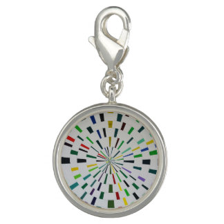 Round Silver Charm  - Theta - Modern Art