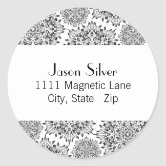 Round Silver Flame Address Labels Round Stickers