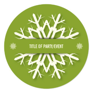 Round Simple Green Big Snowflake Christmas Party 13 Cm X 13 Cm Square Invitation Card