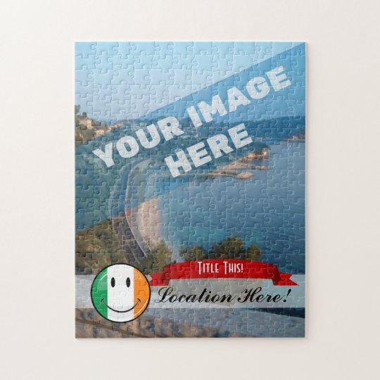 Round Smiling Irish Flag Jigsaw Puzzle