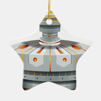 Round spaceship with wings ceramic star decoration
