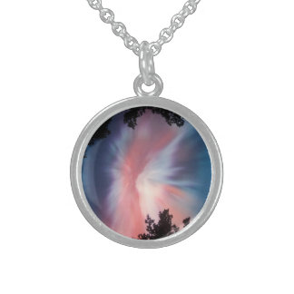 Round Sterling Silver Necklace, Northern Lights Sterling Silver Necklace