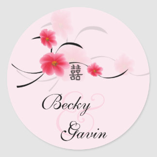 Round Sticker Pink Blossom Double Happiness