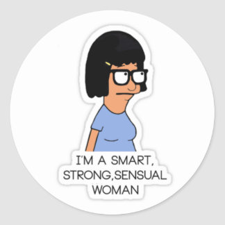 round sticker smart strong sensual woman