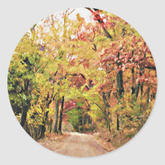Round Sticker with Autumn Country Road Scene