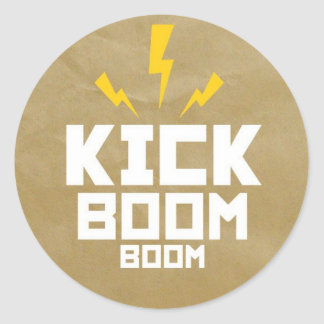 Round Stickers Kick Boom Boom