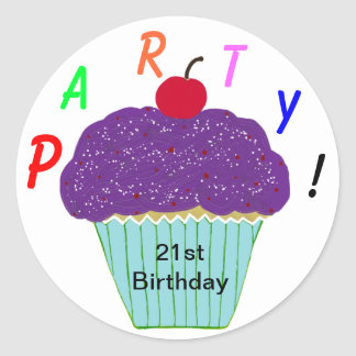 Round Stickers Party Purple Frosting Cupcake Stickers