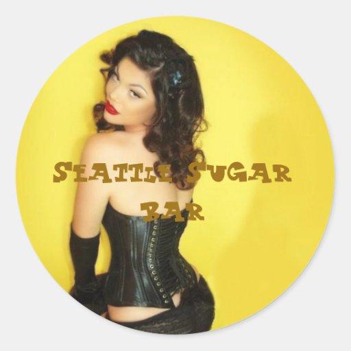 Round Stickers Retro Seattle Sugar Bar