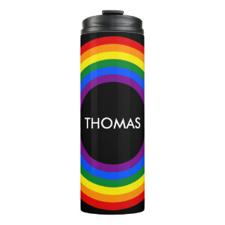 Round Stripes Frame RAINBOW + your backgr. & ideas Thermal Tumbler