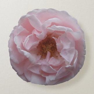 Round Throw Pillow - Blush Pink Rose
