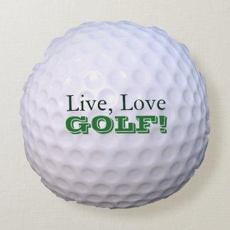 Round Throw Pillow | Live, Love, GOLF! | Golfball