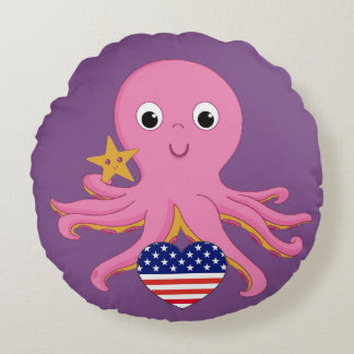 Round Throw Pillow Octopus For A Preemie US