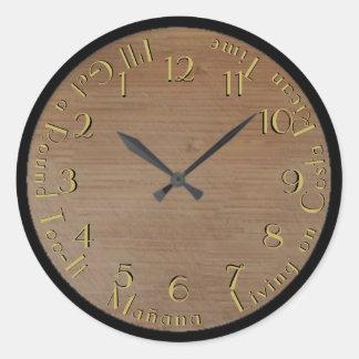 Round Too-It Backward Clock Look Classic Round Sticker