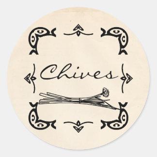 Round Vintage-Style Chives Sticker
