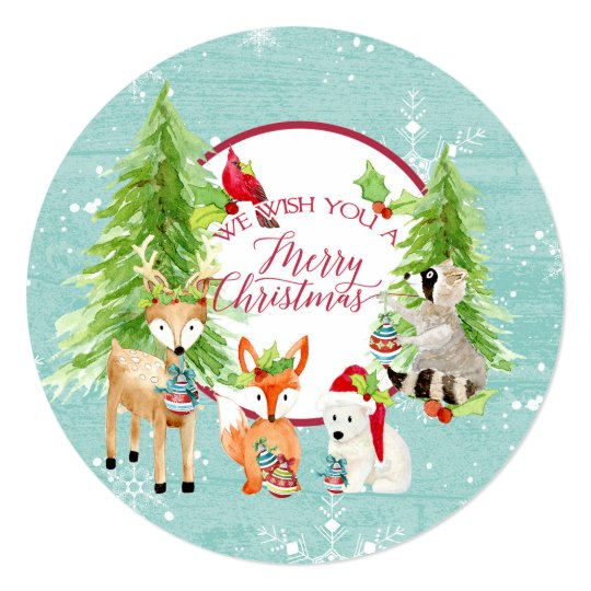 Round w Photo Woodland Forest Merry Christmas Wood Card
