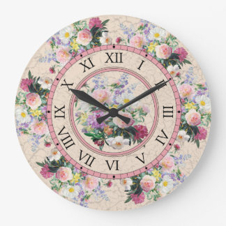 Round wall clock - floral design