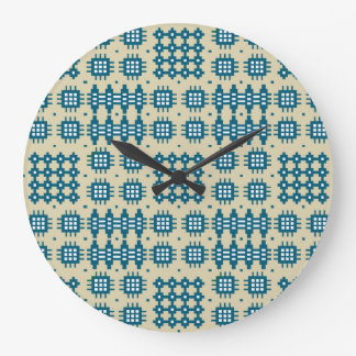 Round Wall Clock: Welsh Tapestry Pattern, Navy Large Clock