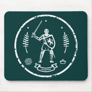 Round White Stamp Medieval Knight - Mousepad