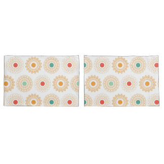 Round Yellow Paisley Pillowcase Set
