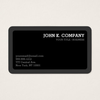 Rounded Dark Gray & Black Minimal Modern Business Card