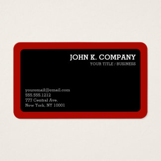 Rounded Red Border Black Minimal Professional Business Card