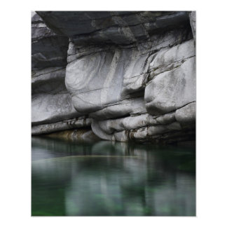 Rounded Rock Cliff by Verzasca River Poster