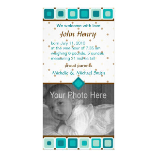 Rounded Squares Birth Announcement - Boy Custom Photo Card