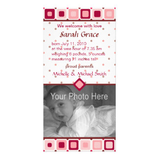 Rounded Squares Birth Announcement - Girl Card