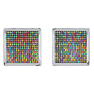 Rounded Squares Silver Finish Cufflinks