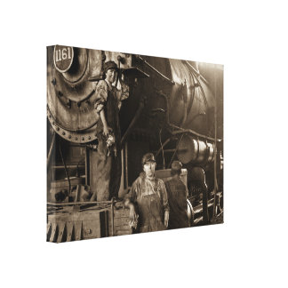 Roundhouse Rosies Locomotive Ladies of World War I Canvas Print
