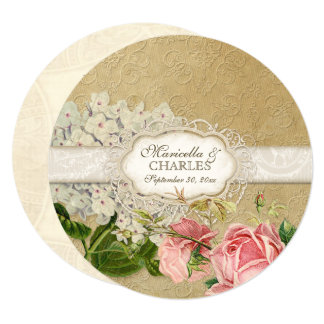 Rounds Vintage Hydrangea n Roses Lace Tea Stained 13 Cm X 13 Cm Square Invitation Card
