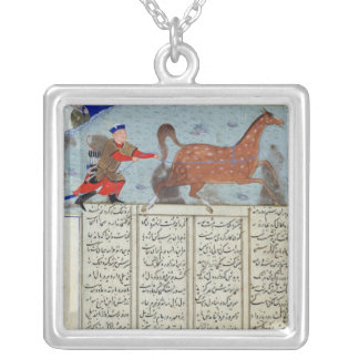 Roustem capturing his horse, from the 'Shahnama' Silver Plated Necklace