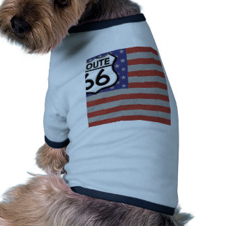 Route 66 American Flag Customize It Doggie Tee Shirt
