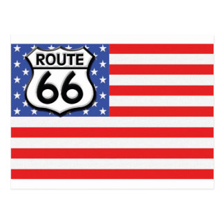 Route 66 American Flag Patriotic Postcard