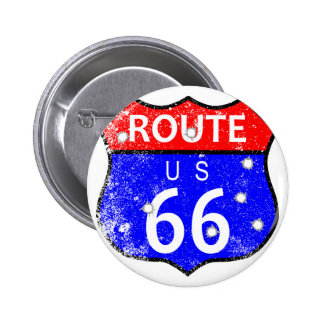 Route 66 Bullet Holes 6 Cm Round Badge