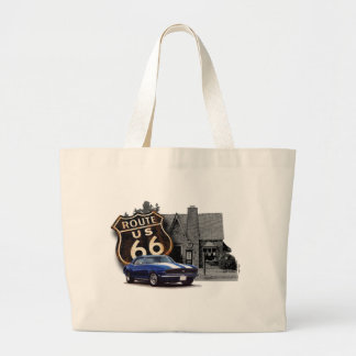 Route 66 Camaro at Gas Station Large Tote Bag