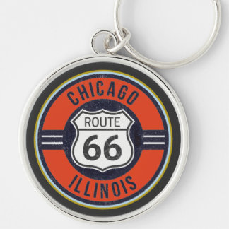 ROUTE 66 CHICAGO - Deluxe Key Ring Silver-Colored Round Key Ring
