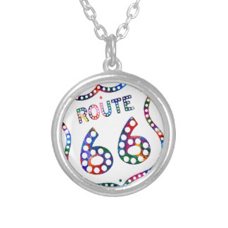 Route 66 color splash! silver plated necklace