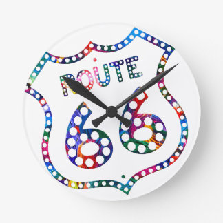 Route 66 color splash! wall clock