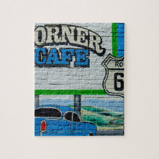 Route 66 Corner Cafe Wall Jigsaw Puzzle