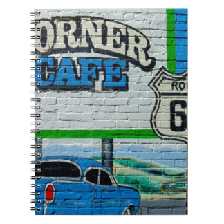 Route 66 Corner Cafe Wall Notebook