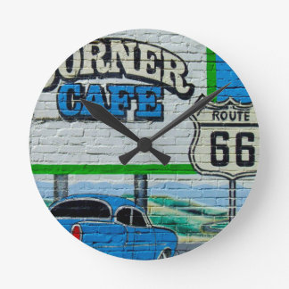 Route 66 Corner Cafe Wall Round Clock