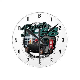 Route 66 Garage Round Clock