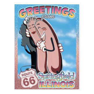 Route 66 Greetings Springfield Illinois Postcard