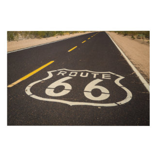 Route 66 highway marker, Arizona Wood Canvas