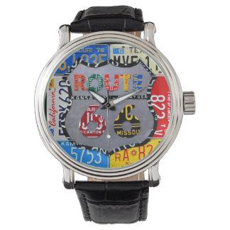 Route 66 License Plate Art Black Wrist Watch