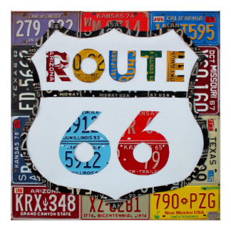 Route 66 License Plate Art by Design Turnpike Poster